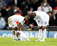 Photo: Richard Lane/Sportsbeat Images.<br />England v Croatia. UEFA European Championships Qualifying. 21/11/2007. <br />England's Micah Richards and Darren Bent show their dejection on the final whistle.