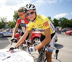 Jakob Fuglsang (DEN) of Team Saxo Bank before start of the 4th stage of Tour de Slovenie 2009 from Sentjernej to Novo mesto, 153 km, on June 21 2009, Slovenia. (Photo by Vid Ponikvar / Sportida)