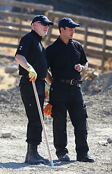 Detective Inspector Jon Cousins (left) of South Yorkshire Police in Kos, Greece, as officers from South Yorkshire Police continue excavations in relation to the missing toddler Ben Needham.