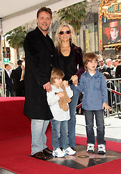 Apr 12, 2010 - Hollywood, California, U.S. - RUSSELL CROWE, Wife DANIELLE SPENCER and sons TENNYSON and CHARLIE (R) as he receives his star during his Walk of Fame Ceremony in Hollywood. (Credit Image: © Lisa O'Connor/ZUMA Press)