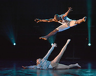 Dance Duo Alleviate in action , during a performance of Flashmob <br /> at the Peacock Theatre London <br /> Picture Dave Nelson