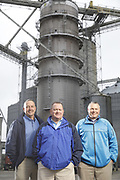 SHOT 10/29/18 9:54:14 AM - Sunrise Cooperative is a leading agricultural and energy cooperative based in Fremont, Ohio with members spanning from the Ohio River to Lake Erie. Sunrise is 100-percent farmer-owned and was formed through the merger of Trupointe Cooperative and Sunrise Cooperative on September 1, 2016. Photographed at the Clyde, Ohio grain elevator was George D. Secor President / CEO and John Lowry<br /> Chairman of the Board of Directors with  CoBank RM Gary Weidenborner. (Photo by Marc Piscotty © 2018)
