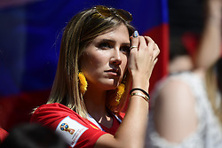 June 23, 2018 - Moscou, Russie - MOSCOW, RUSSIA - JUNE 23 : Noemie Happart, girlfriend of Yannick Carrasco forward of Belgium during the FIFA 2018 World Cup Russia group G phase match between Belgium and Tunisia at the Spartak Stadium on June 23, 2018 in Moscow, Russia, 23/06/2018 (Credit Image: © Panoramic via ZUMA Press)