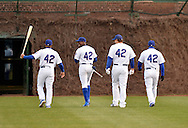 Alberto Gonzalez (L-R), Alfonso Soriano, Anthony Rizzo and bullpen coach Lester Strode of the Chicago Cubs head to the batting cage before the game against the Texas Rangers at Wrigley Field on April 16, 2013 in Chicago, Illinois. All uniformed team members are wearing jersey number 42 in honor of Jackie Robinson Day.  (Getty Images)