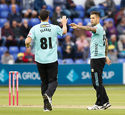Surrey's Jade Dernbach celebrates taking the wicket of Glamorgan's Aneurin Donald<br /> <br /> Photographer Simon King/Replay Images<br /> <br /> Vitality Blast T20 - Round 14 - Glamorgan v Surrey - Friday 17th August 2018 - Sophia Gardens - Cardiff<br /> <br /> World Copyright © Replay Images . All rights reserved. info@replayimages.co.uk - http://replayimages.co.uk