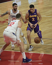 November 27, 2017 - Los Angeles, California, U.S - Lonzo Ball #2 of the Los Angeles Lakers loses the ball during their game with the Los Angeles Clippers on Monday November 27, 2017 at the Staples Center in Los Angeles, California. Clippers vs Lakers. (Credit Image: © Prensa Internacional via ZUMA Wire)