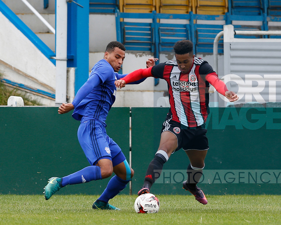 Jake Bennett of Sheffield Utd during the professional development league two match at the Bracken Moor Stadium, Stocksbridge. Picture date 21st August 2017. Picture credit should read: Simon Bellis/Sportimage