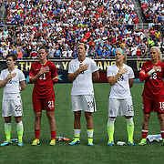 ORLANDO, FL - OCTOBER 25: Abby Wambach #20 of USWNT stands tall during the national anthem ceremony prior to a women's international friendly soccer match between Brazil and the United States at the Orlando Citrus Bowl on October 25, 2015 in Orlando, Florida. (Photo by Alex Menendez/Getty Images) *** Local Caption *** Abby Wambach