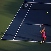 Victoria Duval, 17, USA, in action during her shock first round victory over Samantha Stosur, Australia, during the Women's Singles competition at the US Open. Flushing, New York, USA. 27th August 2013. Photo Tim Clayton