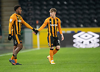 Hull City's Mallik Wilks, left, and Keane Lewis-Potter<br /> <br /> Photographer Andrew Vaughan/CameraSport<br /> <br /> The EFL Sky Bet League One - Hull City v Charlton Athletic - Saturday 2nd January 2021 - KCOM Stadium - Kingston upon Hull<br /> <br /> World Copyright © 2021 CameraSport. All rights reserved. 43 Linden Ave. Countesthorpe. Leicester. England. LE8 5PG - Tel: +44 (0) 116 277 4147 - admin@camerasport.com - www.camerasport.com