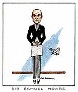 Samuel John Gurney Hoare, Viscount Templewood (1880-1959) British Conservative politician, 1929. Known as Sir Samuel Hoare until 1944 when he was created Viscount Templewood. He held the positions of Secretary of State for Air (1922-1924 and 1924-1929), Secretary of State for India (1931-1935), Foreign Secretary (1935) and Ambassador to Spain (1940-1944). From series of cards on 'Notable M.P.s', (London, 1929).