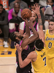 January 24, 2019 - Los Angeles, California, U.S - Andrew Wiggins #22 of the Minneapolis Timberwolves goes for a shot during their NBA game with the Los Angeles Lakers on Thursday January 24, 2019 at the Staples Center in Los Angeles, California. Lakers lose to Timberwolves, 105-120. (Credit Image: © Prensa Internacional via ZUMA Wire)