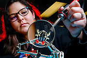UIC College of Engineering undergraduate Kayla Vargas  work during the Tinkering soldering workshop at Makerspace in Chicago.