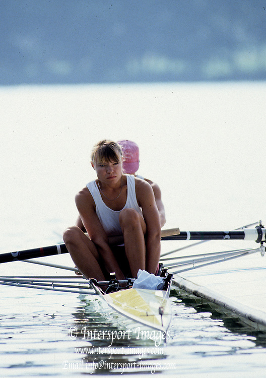 Barcelona Olympics 1992 - Lake Banyoles, SPAIN,  CAN W2- Kathleen Heddle, Photo: Peter Spurrier/Intersport Images.  Mob +44 7973 819 551/email images@intersport-images.com.       {Mandatory Credit: © Peter Spurrier/Intersport Images]..........       {Mandatory Credit: © Peter Spurrier/Intersport Images].........