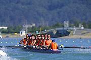 Sydney. AUSTRALIA. 2000 Summer Olympic Regatta, Penrith. NSW.  <br /> <br /> Bow MIDDAG, Adri, 2. VAN DER NOORT, Johannes, 3. VAN DER ZWAN, Niels4. EGGENKAMP, Gerritjan, 5.DERKSEN, Geert Jan, 6. KIND, Gijs. 7. CIRKEL, Geertstroke. RIENKS, Nico. Cox, VAN OIJEN, Merijn<br /> <br /> [Mandatory Credit Peter SPURRIER/ Intersport Images] Sydney International Regatta Centre (SIRC) 2000 Olympic Rowing Regatta00085138.tif