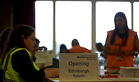 Workers processing envelop postal votes.<br /> Potocall as postal votes processed. Edinburgh council workers begin to verify the first votes submitted by post at Royal Highland Centre, Ingliston<br /> Pako Mera/Universal News And Sport (Europe) 12/09/2014