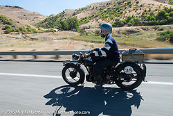 Alan Stulberg of Revival Cycles (Austin) riding Bryan Bossier's 1933 Brough Superior 11-50 during Stage 14 - (284 miles) of the Motorcycle Cannonball Cross-Country Endurance Run, which on this day ran from Meridian to Lewiston, Idaho, USA. Friday, September 19, 2014.  Photography ©2014 Michael Lichter.