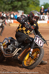Roland Sands Hooligan Racing on his custom Indian Scout on an impromptu parking lot track at the Handbuilt Motorcycle Show. Austin, TX, USA. April 8, 2016.  Photography ©2016 Michael Lichter.
