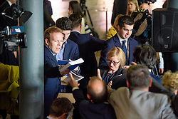 © Licensed to London News Pictures. 18/05/2017. Halifax, UK.  Copies of the manifesto being handed out at the launch event for the Conservative Party manifesto at The Arches in Halifax, West Yorkshire. The Conservatives are the last of the three main parties to launch their manifesto ahead of a snap general election called for June 8, 2017. Photo credit: Ben Cawthra/LNP