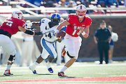 DALLAS, TX - OCTOBER 25:  Garrett Krstich #14 of the SMU Mustangs scrambles against the Memphis Tigers during the 1st quarter on October 25, 2014 at Gerald J. Ford Stadium in Dallas, Texas.  (Photo by Cooper Neill/Getty Images) *** Local Caption *** Garrett Krstich