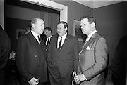 "24/03/1966<br /> 03/24/1966<br /> 24 March 1966<br /> Reception at the Shelbourne Hotel for speakers at the Symposium on ""Shock"" sponsored by Pharmacia International held at UCD. Image shows (l-r): Professor P. FitzGerald, M.D., M.Ch., M.Sc., F.R.C.S.I. who chaired the event; Mr P.E. Gravel, Managing Director, Goodbody Ltd. and Mr Don Douglas, Representative, Pharmacia International."