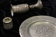 An antique silver judaica Kiddush Cup from Tripoli, Libya.