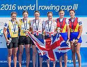 Poznan,  POLAND,  Sunday, 19/06/2016,  Women's Pair, left Silver Medalist, NZL W2- Bow. Genevieve BEHRENT, Rebecca SCOWN,Gold Medalist GBR W2- Bow Helen GLOVER, Heather STANNING, right Bronze Medalist, ROU W2- Bow Madalina Beres, Laura Oprea,  FISA World Cup III, Malta Lake.  FISA World Cup III, Malta Lake.[Mandatory Credit; Peter SPURRIER/Intersport-images]
