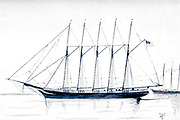 Sketch of the 'Governor Ames' a Five Masted trading Schooner, USA from the book ' Pen and pencil sketches of shipping and craft all round the world ' by Pritchett, Robert Taylor Published in London in 1899