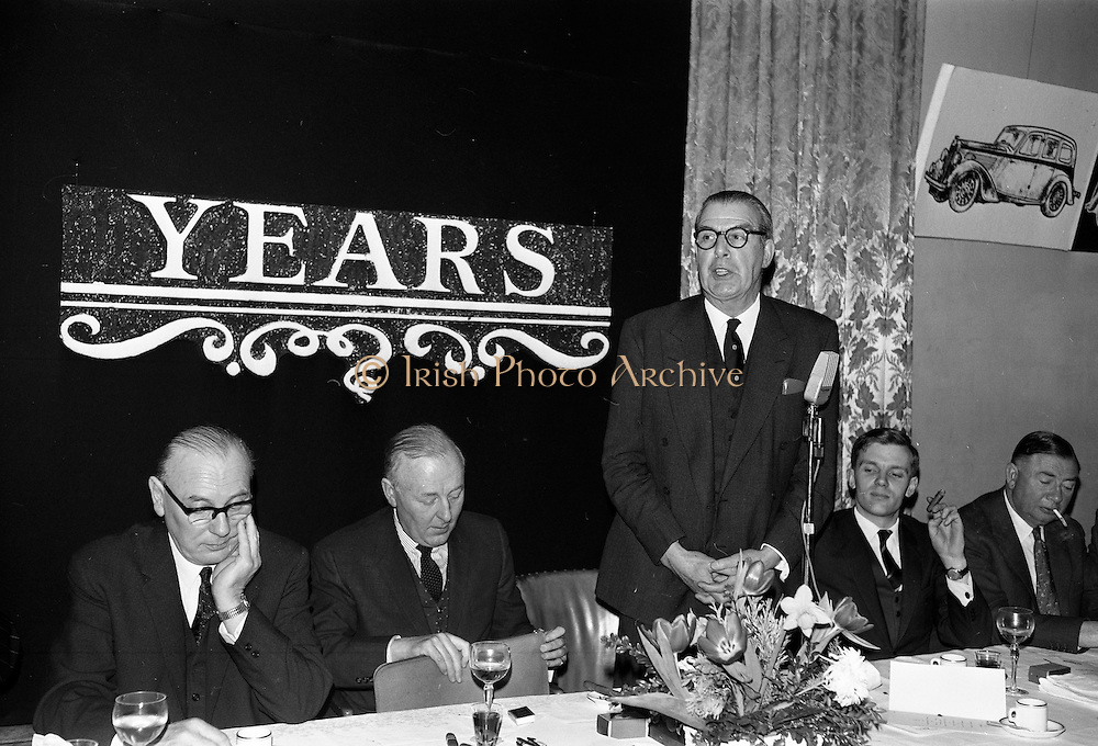 07/02/1963<br /> 02/07/1963<br /> 07 February 1963<br /> Brittain Dublin Ltd. Golden Jubilee reception and Dinner at the Hibernian Hotel, Dublin. Picture shows Mr. H.C.R. Mullens, Director, British Motor Corporation Services Ltd. addressing the gathering.