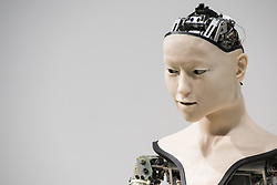 June 22, 2017 - Tokyo, Japan - A humanoid robot called Alter, designed by scientists in Japan is exhibited at the National Museum of Emerging Science and Innovation. The CPG has a neutral network that replicates neurons, allowing the robot to create movement patterns of its own, influenced by sensors that detect proximity, temperature and, for some reason, humidity. (Credit Image: © Alessandro Di Ciommo via ZUMA Wire)
