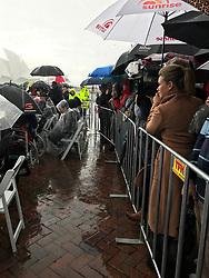 Sunrise reporter Edwina Bartholomew waited in the rain for Prince Harry to arrive at his only public appearance at Campbell's Cove, Sydney, Australia. 07 Jun 2017 Pictured: Edwina Bartholomew. Photo credit: Richard Milnes / MEGA TheMegaAgency.com +1 888 505 6342