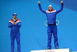 February 15, 2018 - Pyeongchang, South Korea - AKSEL LUND SVINDAL of Norway celebrates getting the gold medal from the Men's downhill event in the PyeongChang Olympic games. (Credit Image: © Christopher Levy via ZUMA Wire)