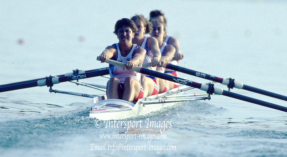 Banyoles, SPAIN, GBR W4-, Bow, Allison BARNETT ,No. 2 Suzanne KIRK , No. 3, Gillian LINDSAY and Stroke, Kim THOMAS, competing in the 1992 Olympic Regatta, Lake Banyoles, Barcelona, SPAIN. 92 Gold Medalist.   [Mandatory Credit: Peter Spurrier: Intersport Images]