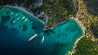 Aerial view of boats moored in bay on island Ithaca in Greece.