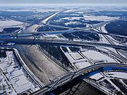 Nederland, Noord-Holland, Diemen / Weesp, 13-02-2021; Winterlandschap met bruggen. Uylandebrug naar IJburg in de voorgrond, bruggen over Amsterdam-Rijnkanaal, rijksweg A1 en A9 - Muiderspoorbrug in de achtergrond.<br /> Winter landscape with bridges. Uylandebrug to IJburg in the foreground, bridges over the Amsterdam-Rijnkanaal, highway A1 and A9 - Muider railway bridge in the background.<br /> <br /> luchtfoto (toeslag op standaard tarieven);<br /> aerial photo (additional fee required)<br /> copyright © 2021 foto/photo Siebe Swart