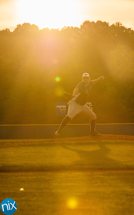 Concord Post 51's Tyler Thomas pitches against Mooresville Post 66 Monday night at Lake Norman High School. Concord won the game 6-5.
