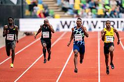 TaymirBurnet of Netherlands, ChurandyMartina of Netherlands, Isaac Makwala of Botswana in action on the 200 meter during FBK Games 2021 on 06 june 2021 in Hengelo.