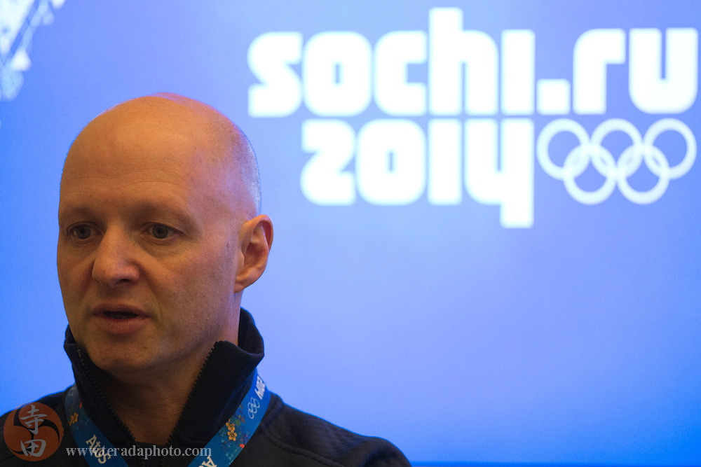 Feb 9, 2014; Sochi, RUSSIA; USA Curling team leader Derek Brown addresses the media in the USA Women's Curling press conference during the Sochi 2014 Olympic Winter Games at Main Press Center.