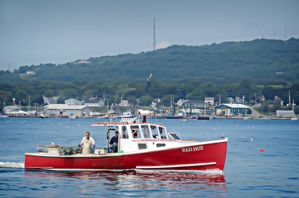 Red Hot Lobster Boat in Rockland, ME harbor.