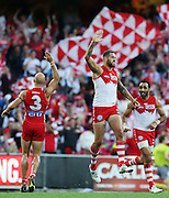 Lance Franklin of the Swans celebrates a goal during the 2014 AFL Round 13 match between the Sydney Swans and Port Adelaide Power at the SCG, Sydney on June 14, 2014. (Photo: Craig Golding/AFL Media)