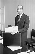 George Colley TD Minister for Finance..Budget Day..1972..19.04.1972..04.19.1972..19th April 1972..Pictured in his office at the Finance Department. The Minister for Finance, Mr George Colley, is seen preparing his paperwork prior to giving his budget speech at Dail Eireann, Leinster House, Dublin.