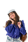 Woman in blue blouse talk on her mobile phone