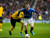 Football - 2019 / 2020 UEFA Europa League - Group G: Rangers vs. BSC Young Boys<br /> <br /> Borna Barisic of Rangers vies with Jean-Pierre Nsame of Young Boys FC, at Ibrox Stadium.<br /> <br /> COLORSPORT/BRUCE WHITE
