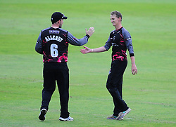 Max Waller and Jim Allenby celebrate a wicket.  - Mandatory by-line: Alex Davidson/JMP - 15/07/2016 - CRICKET - Cooper Associates County Ground - Taunton, United Kingdom - Somerset v Middlesex - NatWest T20 Blast
