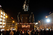 Havel was a Czech playwright, essayist, poet, dissident and politician. After the announcment of his death spontaneously thousands of people People are meeting on Wenceslas Square and other places in Prague to commemorate the death of former Czech President Vaclav Havel with flowers and candles.