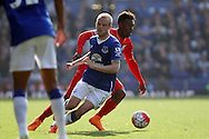 Daniel Sturridge of Liverpool goes past Steven Naismith of Everton. Barclays Premier League match, Everton v Liverpool at Goodison Park in Liverpool on Sunday 4th October 2015.<br /> pic by Chris Stading, Andrew Orchard sports photography.
