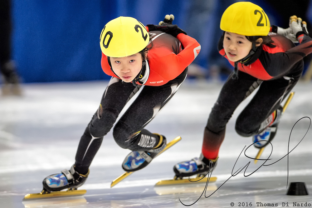 March 20, 2016 - Verona, WI - Eunice Lee, skater number 200 competes in US Speedskating Short Track Age Group Nationals and AmCup Final held at the Verona Ice Arena.