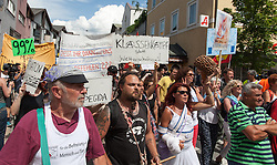 13.06.2015, Telfs, AUT, Demonstration gegen die Bilderbergkonferenz, im Bild die Demonstration // protesters during a demonstration agiainst the bilderberg group in Telfs, Austria on 2015/06/13. EXPA Pictures © 2015, PhotoCredit: EXPA/ Jakob Gruber