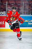KELOWNA, BC - MARCH 02:  Nick Cicek #29 of the Portland Winterhawks warms up on the ice against the Kelowna Rockets  at Prospera Place on March 2, 2019 in Kelowna, Canada. (Photo by Marissa Baecker/Getty Images)