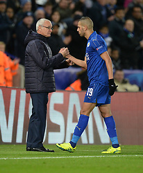 Islam Slimani of Leicester City embraces Leicester City manager Claudio Ranieri - Mandatory by-line: Alex James/JMP - 18/10/2016 - FOOTBALL - King Power Stadium - Leicester, England - Leicester City v FC Copenhagen - UEFA Champions League